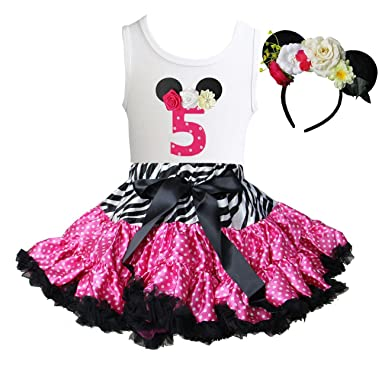 aff3b9113d Kirei Sui Zebra Pink Polka Dots Pettiskirt 1st - 6th Birthday Mouse  Headband: Amazon.co.uk: Clothing