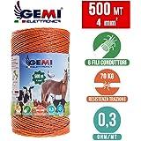 Gemi Fil DE CLÔTURE ÉLECTRIQUE clôture électrifiée 500 MT 4 mm² pour Animaux Chevaux Chiens sangliers Vaches porcs…