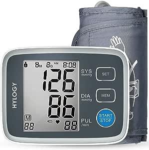 HYLOGY Misuratore Pressione da Braccio Digitale, Sfigmomanometro da Braccio Pressione Arteriosa, Grande Schermo LCD, 2 * 90 Posizioni di Memoria (grigio) (GRIGIO)