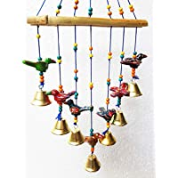 DININE CRAFT Home Decor Wooden Handpainted and Handmade Hanging Wind Chimes Pieces (Multicolour, 45 cm) Handcrafted Decorative Wall/Door/Window Hanging Bells