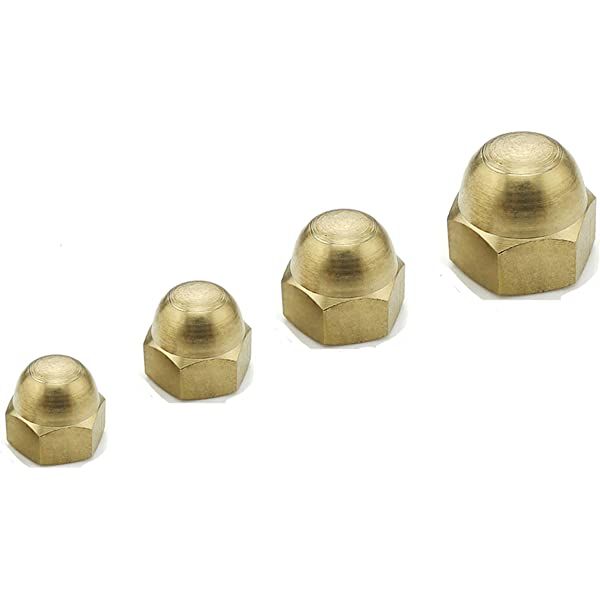 Uxcell a16032200ux1051 M5 Thread Dome Head Brass Cap Acorn Hex Nuts