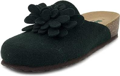 BioNatura, Pantofole Donna Ciabatte Invernali in Feltro Lana Verde, Sottopiede Vera Pelle, 12CANAZEI