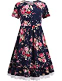 Bricnat Girls Festive Dress Girls Dress Flowers Dress A Line Retro Printed Skater Dresses O-Neck Short Sleeves Spring Summer Dress Age 4-12 Year