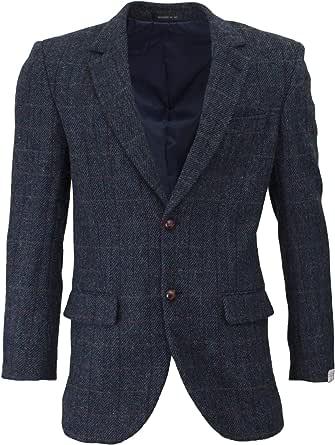 Walker & Hawkes - Mens Classic Scottish Harris Tweed Herringbone Overcheck Country Blazer Jacket - Royal Blue