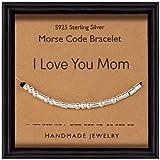 Suyi Pulsera Código Morse Pulsera De Plata Esterlina con Cordón De Seda Regalo para Cumpleaños De Madre