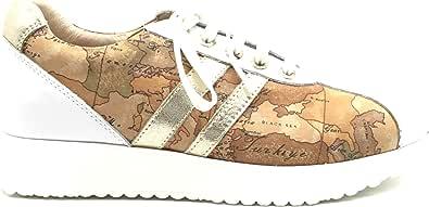 ALVIERO MARTINI Junior Sneakers in Pelle e Tela,Allacciata.Colore Bianco e Beige Geografico.