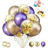 Ballon Anniversaire 30 Pièces Latex Helium Ballon Ballon Métallique Ballons Confettis et 2 Rubans. Convient pour la Decoratio