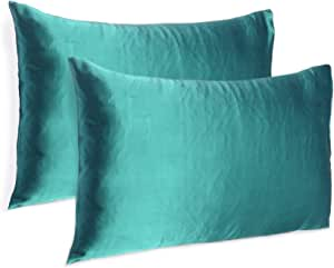 Oussum Satin 300 TC Pillow Cover, Standard - 20 x 26 Inch, Teal