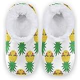 linomo Lindas zapatillas con patrón de piña para mujer, pantuflas de casa para mujer, zapatos de casa, zapatos de dormitorio,