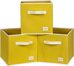 Uberlyfe Yellow 3pc Kids Toy Storage Box (KSB-1001-CUB-YL3PC)