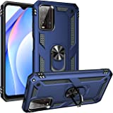 FTRONGRT Case for Xiaomi Redmi 9T, Rugged and shockproof,with mobile phone holder, Cover for Xiaomi Redmi 9T-Blue