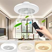 FULLOVE Ventilateur plafonnier moderne créatif plafonnier LED ventilateur de plafond dimmable avec éclairage et…