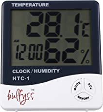 Bulfyss BFHTC-1 Temperature Humidity Time Display Meter with Alarm Clock, Wall Mount or Table Top, Multicolour