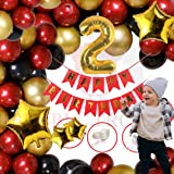 Bubble Trouble Boys Second Happy Birthday Balloons Decoration Kit Combo For 2nd Birthday Kids Baby 1 Pc Banner (Red), 2 No. F