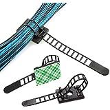 Dokpav 50 st återanvändbara kabelklämmor, justerbara självhäftande slipsar, nylonkabelband och fästande kabelklämmor för kabe