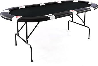 Nexos Pokertisch Casino Tisch klappbar für bis zu 10 Personen Spieletisch Poker Black Jack Roulette schwarze Auflage Würfeltisch Glücksspiel
