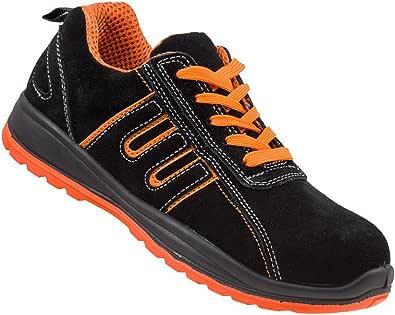 Urgent Men's Safety Shoes Steel Toe Cap Safety Workwear Shoes 216 S1 Black Orange