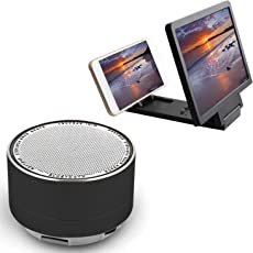Elevea Mini Metal Bluetooth Speaker with Calling Facility with 3D Screen Magnifier for Mi Redmi 5a & iPhone X Mobile