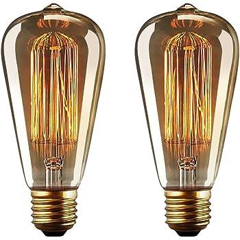 Yunlights 2 Stück St64 E27 Dimmbar Edison Glühbirne Im Vintage Stil