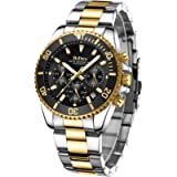 Mens Watches Chronograph Stainless Steel Waterproof Date Analog Quartz Watch Business Casual Fashion Wrist Watches for…