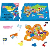 Imagimake: Mapology World with Flags & Capitals- with Country Shaped Pieces- Jigsaw Puzzle and Educational Toy for Boys and G