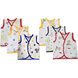 MONTUBUNTY New Born Baby Cotton Jabla - Pack of 6 (0-3 Months, White Printed)
