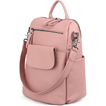 f49d821957bb UTO Women Backpack Purse 3 Ways PU Washed Leather Ladies Rucksack Shoulder  Bag Pink