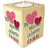 Bougie personnalisée Ma Mamie adorée – Porte Bougie en Bois personnalisé avec Le prénom de Mamie – Cadeau Noël, Anniversaire,