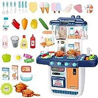 deAO Set de Cuisine 'Mon Petit Chef' avec 34 Accessoires, Plaque de Cuisson à Induction, Eau, Lumière et Son (Blue)