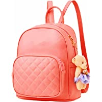 PAGWIN® Girls PU Leather Backpack/School/College/Tution/Coaching Backpack (Cream, PG-0032)