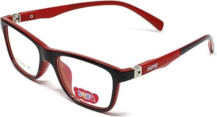 Fusine™ Eye Wear Specs Full Rim Shell Unisex Spectacles Children Frames for Distant Power Vision & Reading Glasses for Kids(boys & girls ) (Black-Red)