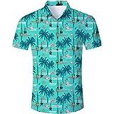 Goodstoworld Camicia Hawaiana da Uomo Estiva Fiori Tropicale 3D Stampa Manica Corta Casual Camicie Shirt