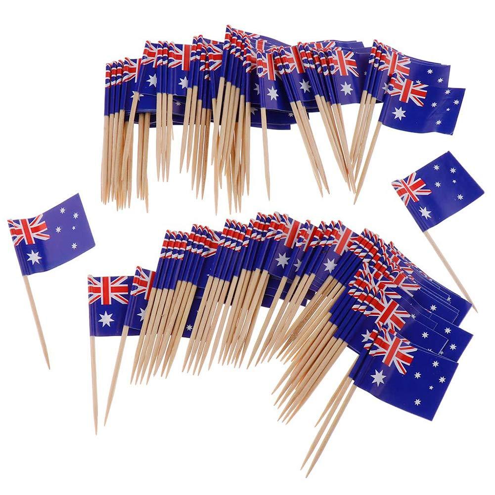 Ruiting Mini Flag Zahnstocher 100Pcs Australien-Flagge Kuchen Auswahl Internationale Events Cocktail-Stock-Flagge Obst…