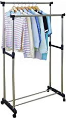Styleys Stainless Steel Premium Double-Pole Clothes Hanger/Rack, Rolling Bar Rail Rack, (for Clothes/Shoes) Adjustable