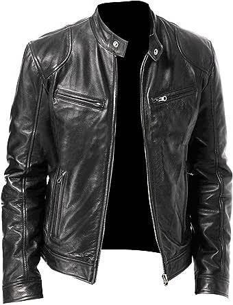 Mens Slim Fit Cafe Racer Black Brown Real Lambskin Biker Leather Jacket