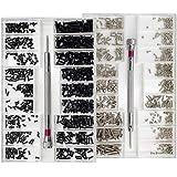 Nsiwem Viti per Occhiali 2 Scatole Micro Viti Set Viti Piccole Kit di Viti di Riparazione Micro 18 Formati Nero e Argento con