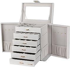 Schmuckkästchen mit 5 Schubladen und Spiegel Schmuckschatulle Schmuckkoffer Schmuckaufbewahrung 28*17*30 cm SSH0321