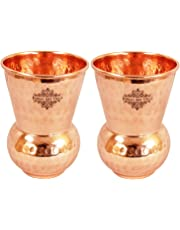Indian Art Villa Copper Glass Tumbler, Hammer Design, Drinkware, 300 ML Each, Set of 2 Pieces