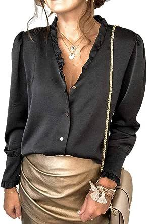 Camicia da Donna in Raso a Maniche Lunghe, alla Moda, con Colletto rovesciato, Scollo a V, Tinta Unita, con Bottoni, in Raso di Seta, Casual, per Ufficio