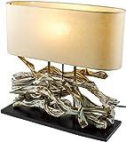 Guru-Shop Tischlampe/Tischleuchte Marimbula, Handgefertigtes Unikat aus Naturmaterial, Holz, Baumwolle, 46x50x16 cm, Dekolampe Stimmungsleuchte