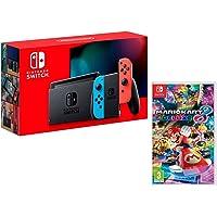 Nintendo Switch Console Rouge Néon/Bleu Néon 32Go [Nouveau modèle] + Mario Kart 8 Deluxe