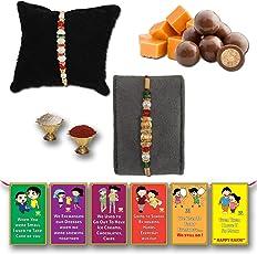 BOGATCHI Chocolate Coated Butterscotch Nuts/Crispy - 50g FREE with Elegant White Pearl Rakhi and Golden Pearl Rakhi, Set of 2 Rakhi, Best Rakhi for Brother + FREE Roli Chawal + FREE Rakhi Special Brother Sister Story Cards Set