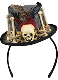 Voodoo Mini Hütchen mit Totenkopf und Knochen Schwarz//Braun Hut Halloween Kostüm