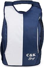 Chris & Kate Polyester 21 LTR White & Navy Blue School Bag