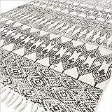 Eyes of India - Schwarz Weiß Baumwolle Block Druckfläche Akzent Dhurrie Teppich Hand Geflochten Flach zu Weben Boho Chic Indische Böhmisch - Schwarz, 4 X 6 ft. (120 X 180 cm)