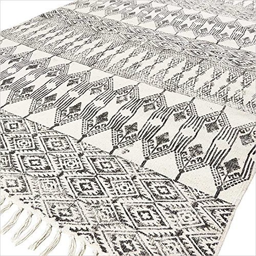 Eyes of India - Elfenbein Schwarz Baumwolle Block Druckzonen Accent Dhurrie Teppich flach gewebt Boho Bohème, A-e Blanc Noir, 8 X 10 ft. (243 X 304 cm) (10x10 Teppiche)