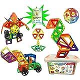 Magnetische bouwstenen │78 grote magnetische tegels zonder letters + plastic opbergdoos │ Educatief en creatief speelgoed voo