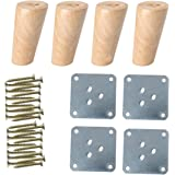 sourcing map 4 Inch Solid Wood Furniture Legs Sofa Couch Table Desk Closet Cabinet Feet Adjuster Replacement Set of 4