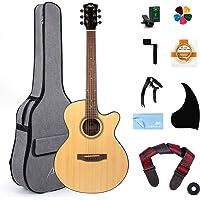 AKLOT Acoustic Guitar Beginner Kits 38 inch Spruce Cutaway Guitar Bundle for Students Kids Beginners W/Gig Bag Tuner Strap Picks Strings Pickguard Guitar Capo String Winder