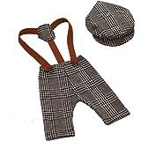YeahiBaby Accesorios de fotografía de bebé recién nacido Pantalones de liguero de cuadros escoceses y trajes de traje de tapa